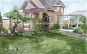скетчи-проект ландшафтного дизайна