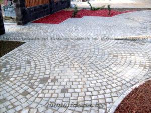 схема укладки тротуарной плитки веером