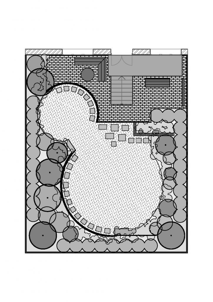 план ландшафтного дизайна таунхауса